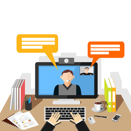 smart phone hand: Video conference illustration. flat design. Video call.