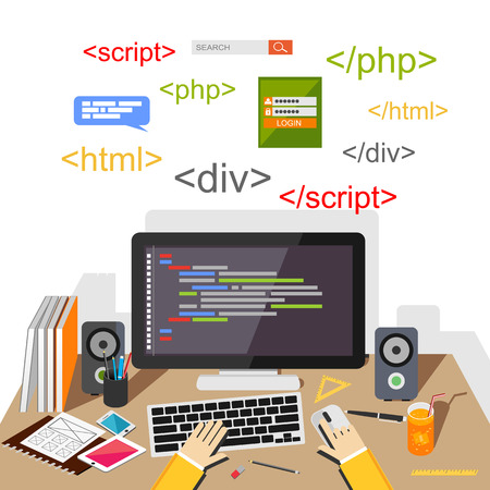 Web developer or programmer concept illustration. Vectores