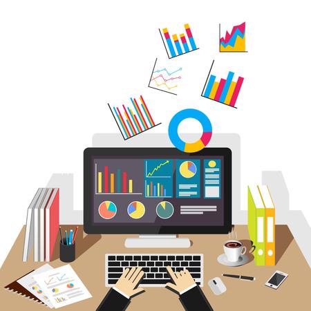 유행: 비즈니스 그래프 그림입니다. 비즈니스, 비즈니스 통계, 비즈니스 분석, 비즈니스 성장, 모니터링 동향 플랫 디자인 일러스트 레이 션 개념입니다.