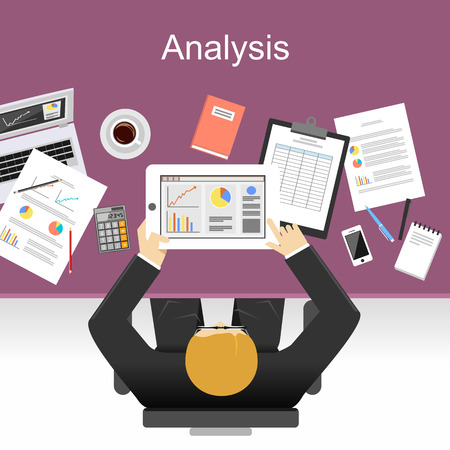 Analyse illustratie. Analysis concept. Platte ontwerp illustratie concepten voor analyse, werken, management, carrière, brainstormen, financiën, werken. Stockfoto - 44039644