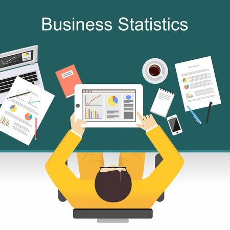 media icons: Business statistics concept illustration. Flat design illustration concepts for business,statistic, finance,  management, working, analysis, brainstorming.
