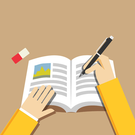 hand illustration: Writing hand concept. Writing or studying concept illustration. Flat design.