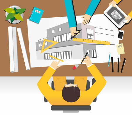 architecture: Architecture concept illustration. Flat design illustration concepts for construction, working, drawing, architectural, business, analysis, planning, teamwork, development, brainstorming.