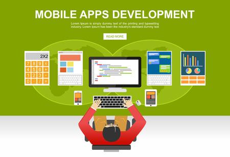 Flat design illustration concepts for mobile apps development, programming, programmer, developer, development, application development, brainstorm, coding.