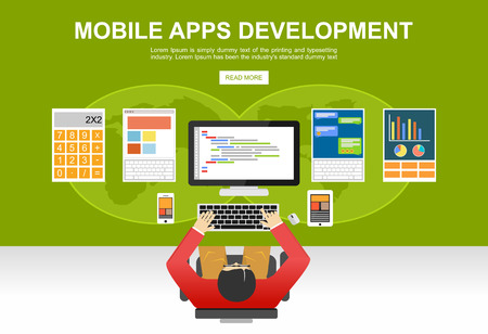 the programmer: Flat design illustration concepts for mobile apps development, programming, programmer, developer, development, application development, brainstorm, coding.
