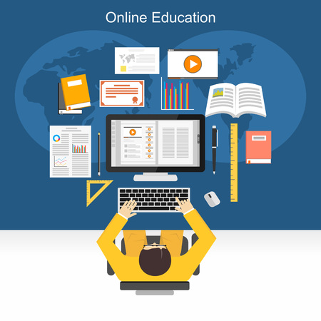 Online education or e-learning concept illustration.
