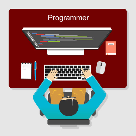 Programmer working concept illustration. Flat design. Flat design illustration concepts for analysis, working, brainstorming, coding, programming, and teamwork. Çizim