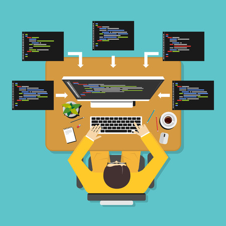 Programming illustration. Flat design. Flat design illustration concepts for analysis, working, brainstorming, coding, programming, and teamwork.  イラスト・ベクター素材