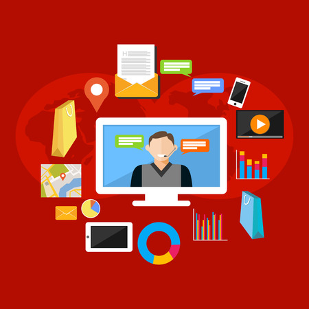 Online support or service support illustration. Flat design illustration concepts for customer support, technical support, consulting, service.