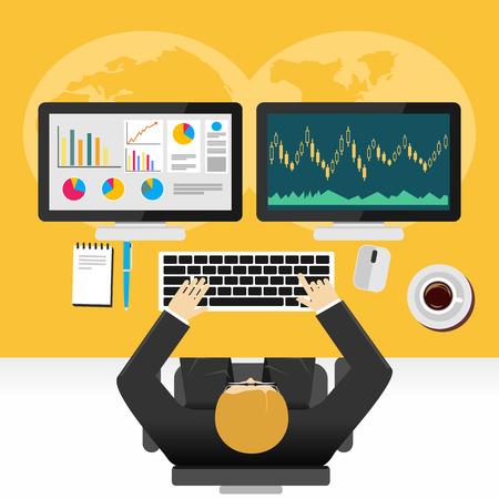 trend: Stock market graphs monitoring concept illustration.