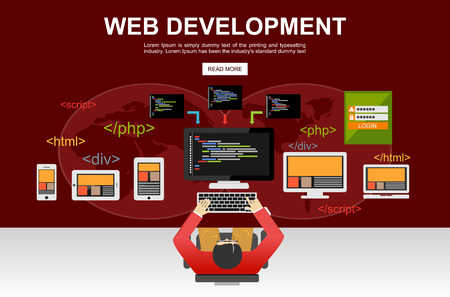 javascript: Web development illustration. Flat design. Banner illustration of web development concept. Flat design illustration concepts for analysis, brainstorming, coding, programming, programmer,and developer.