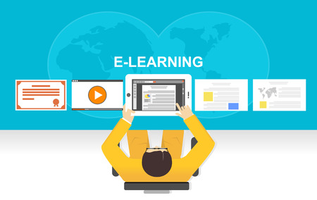 reading materials: Flat design illustration concepts for e-learning, online studying, or online education.