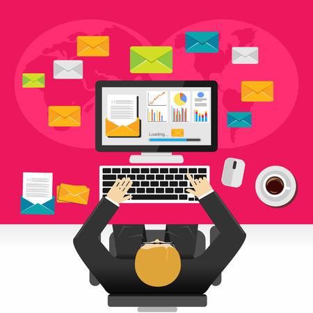 email marketing: Email marketing illustration. Flat design illustration concepts for business, planning, management, business strategy, business statistics, monitoring, working, investment. Illustration