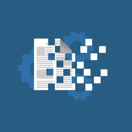 Data encryption concept illustration. Flat design.