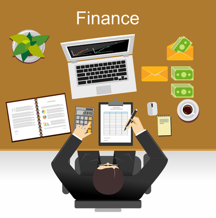 DEPARTMENT: Finance illustration. Flat design illustration concepts for business, planning, management, finance, accounting, business statistics, working, investment.