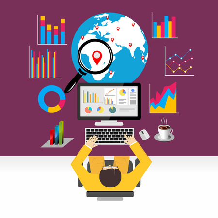 グローバル経済、世界経済、マーケティング分析のための概念をフラットなデザイン。