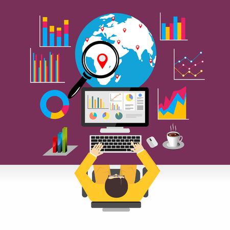 Flat design concepts for global economy, world economy, marketing analytic.