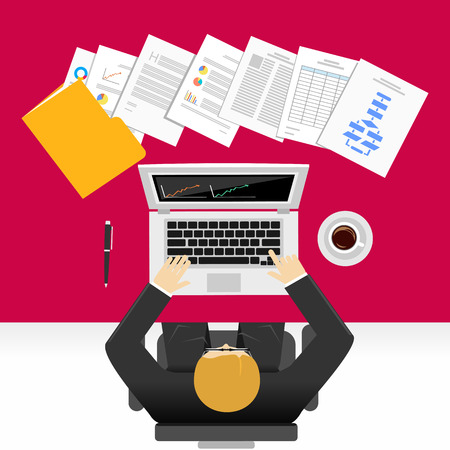 Businessman making report concept illustration. Stock Illustratie
