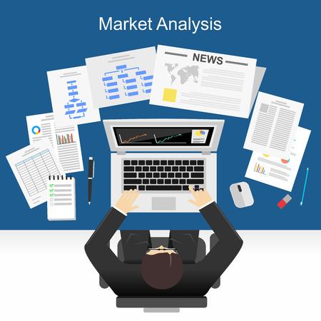 Platte ontwerp illustratie concept voor marktanalyse, business plan, investeringen, marketing. rapportering, management, marktonderzoek.