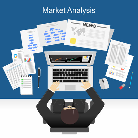 Flat design illustration concept for market analysis, business plan, investment, marketing. reporting, management, market research.