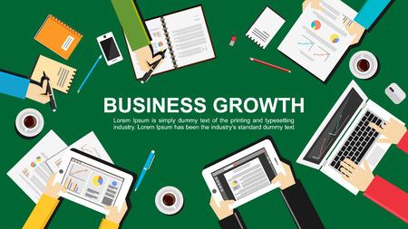 planificacion: El crecimiento del negocio concepto de ilustraci�n. Dise�o plano. Trabajo en equipo, reuni�n, analizar y planificaci�n concepto.