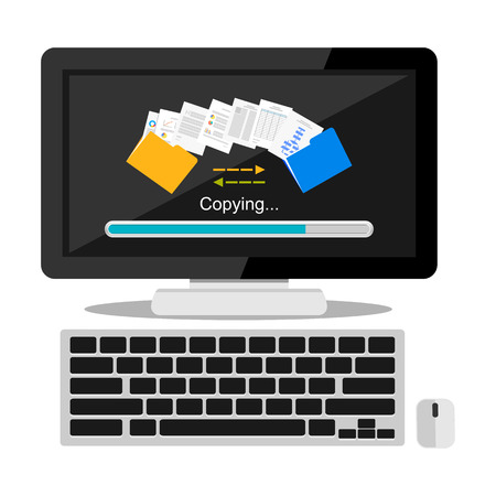 Files transfer illustration. Copying files or documents on computer concept illustration.