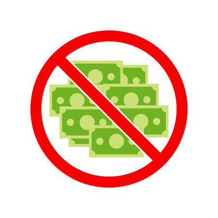 bestechung: Vektor ohne Geld. Verbot der Geld.