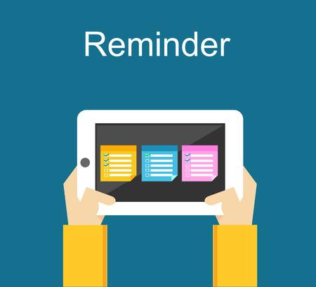 reminder: Reminder concept. Reminder application on mobile phone.