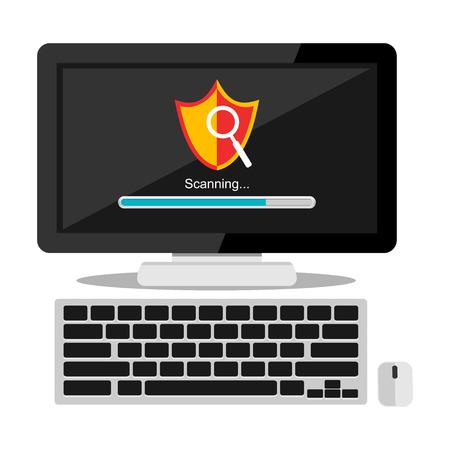 an antivirus: Scanning virus on computer concept illustration. Antivirus symbol.