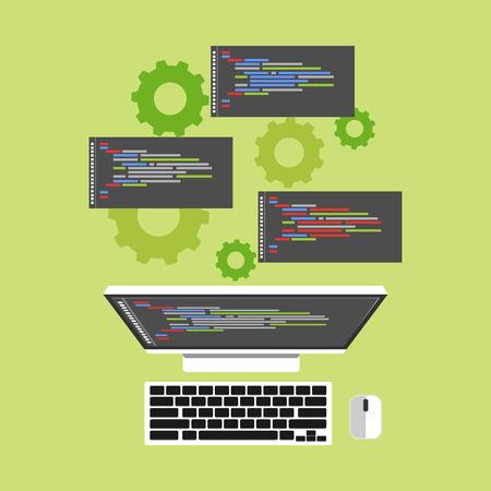 computer program: Operation system. Computer process. Flat design.