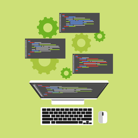 Operation system. Computer process. Flat design.