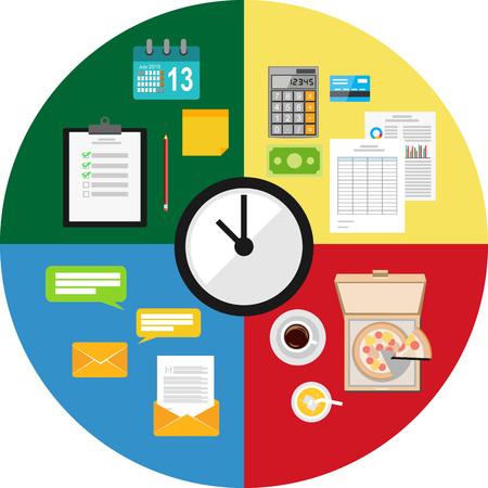 gestion del tiempo: Tiempo concepto de gesti�n de ilustraci�n. Vectores