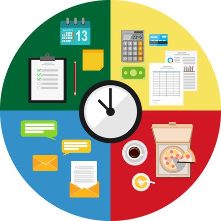 time clock: Time management concept illustration.