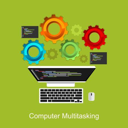 debug: Computer multitasking process concept illustration.