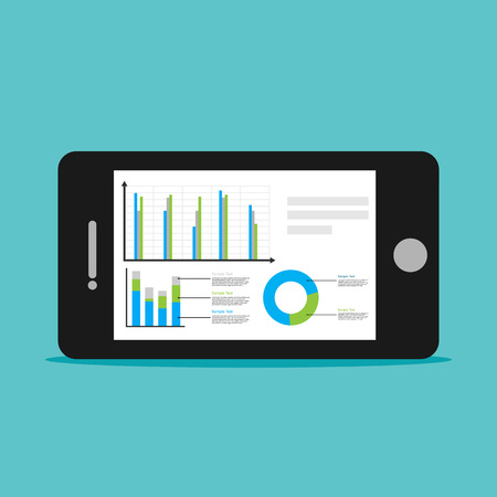 business phone: Analyze business statistics with mobile phone concept illustration. Illustration