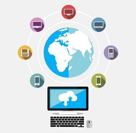 globális kommunikációs: Globális kommunikációs koncepció illusztráció.