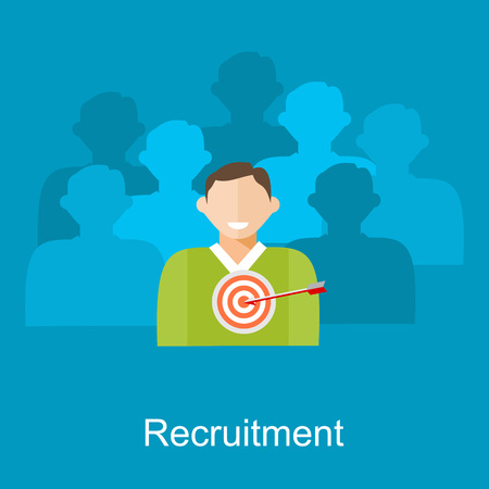 conclusion: Ilustración Contratación. Piso conceptos de diseño ilustración para los recursos humanos, la búsqueda de empleados, candidatos recluta.