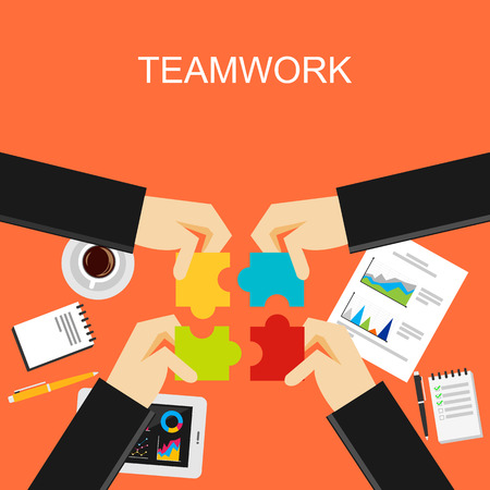 conclusion: Teamwork concept illustration. Flat design illustration concepts for teamwork, team, meeting, discussion, working, business, planning, development, brainstorming, strategy, create solution.