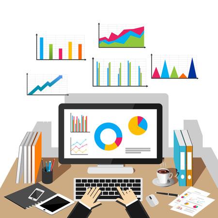 유행: 비즈니스 성장 개념입니다. 사업 배경입니다. 비즈니스 통계, 비즈니스 분석, 비즈니스 성장, 모니터링 동향 플랫 디자인 일러스트 레이 션 개념입니다