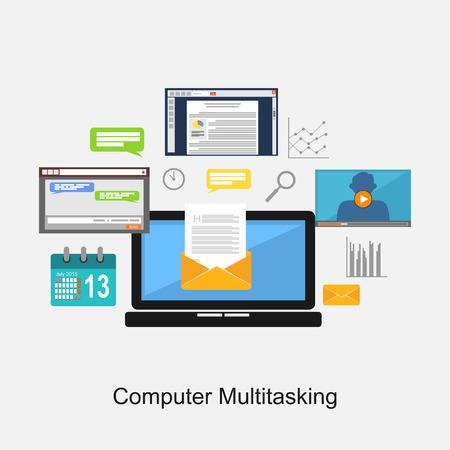 debug: Computer multitasking concept illustration.
