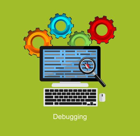 debugging: Debugging illustration. Flat design illustration concept for debugging, antivirus, scanning data. Illustration