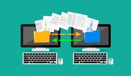 secure backup: Files transfer. Copying files. Concept illustration.