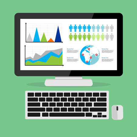 Web analytic showing business growth graph concept illustration. Stock Illustratie
