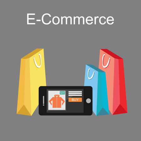 gift bags: E-commerce Illustration. Online Shopping Illustration. Flat design.