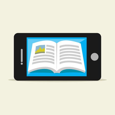 reading materials: E-book on mobile phone. Digital book. Illustration