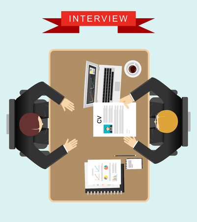 interview: Job interview concept illustration. Flat design.