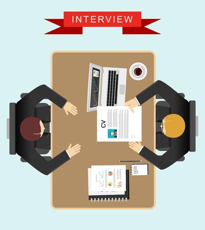 entrevista: Trabajo concepto de ilustración entrevista. Diseño plano. Vectores