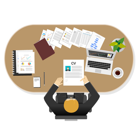 tasks: Manager task illustration. Flat design illustration concepts for management, leader task, businessman.