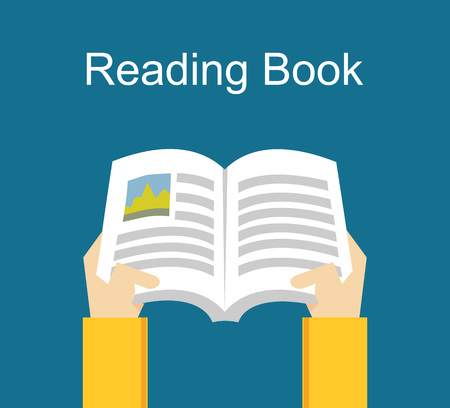 thesis: Reading book. Studying concept.  Flat design illustration concepts for studying, working, reading, analysis. Illustration