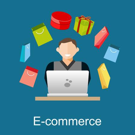 E-commerce or online shopping illustration. Flat design illustration concept. Illustration